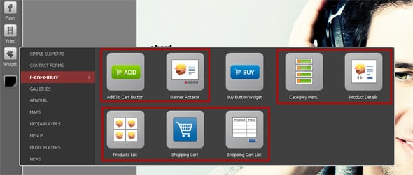 Components of the e-Commerce widget