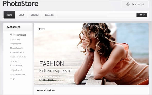 Flash CMS Template for Photo Store