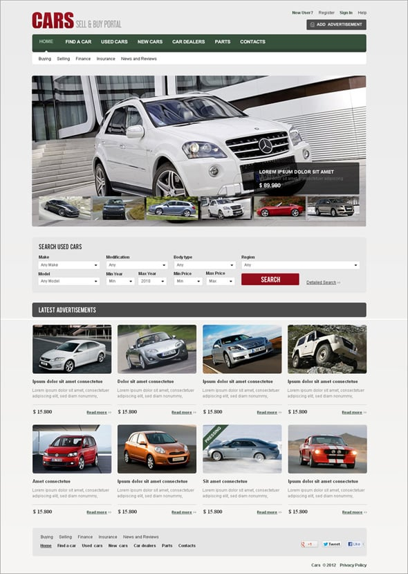 Flash Template for Auto Selling Portals