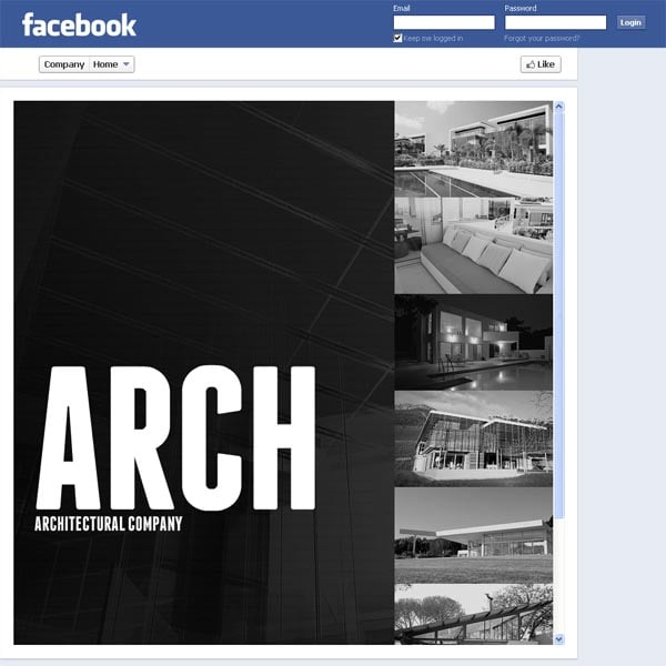 Макет для архитектурной компании в Facebook
