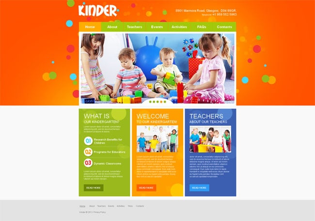 Children's Day Care Company Website Template