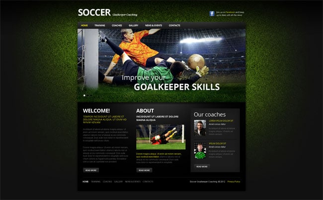 Soccer/Football Themed Website Template