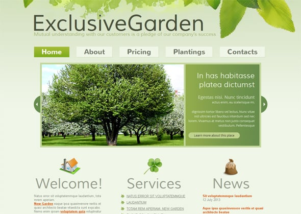 Gardening Green Website Template