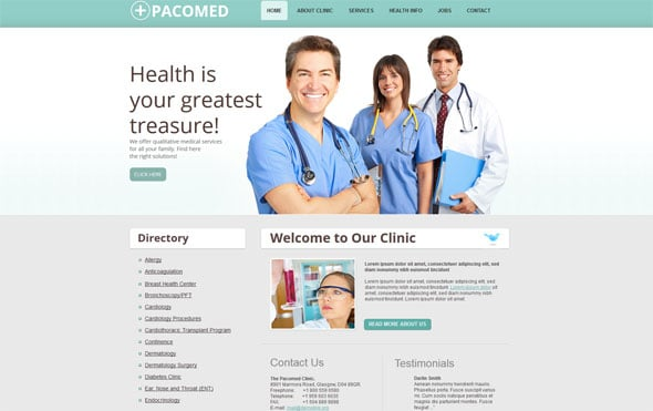 Gray Medical Template with Green Navigation Bar