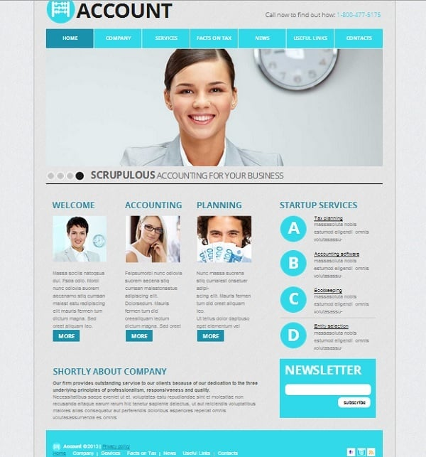 Accouting Agency Website Template in Blue