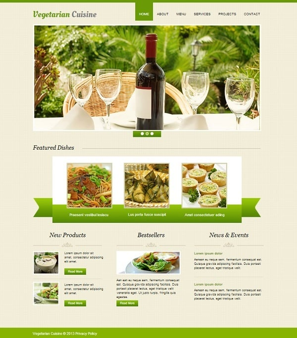 Beige Website Template for Cooking Site