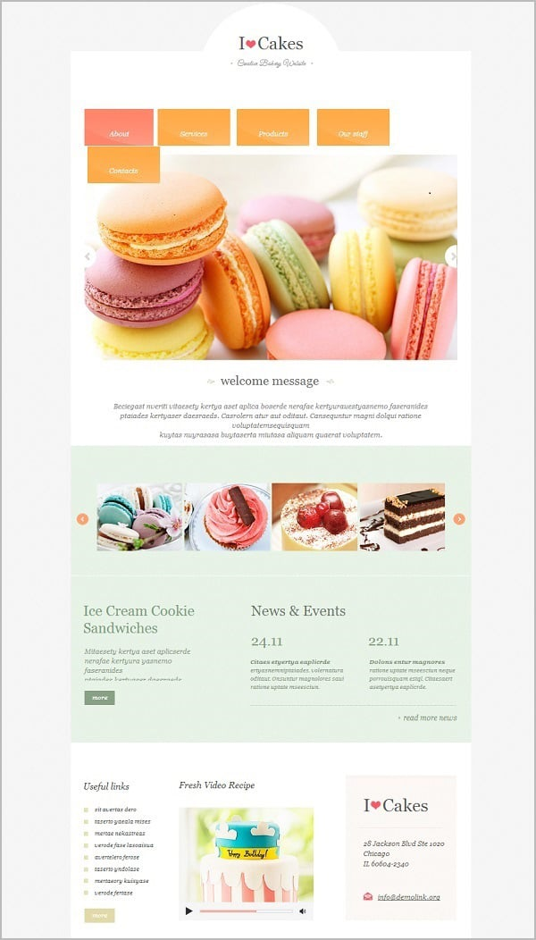Cake Blog Website Template in Pastel Colors
