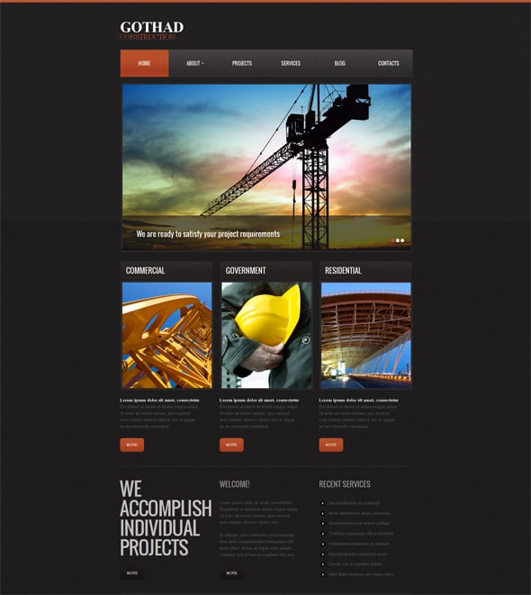 Construction Website Templates for Companies Building Future