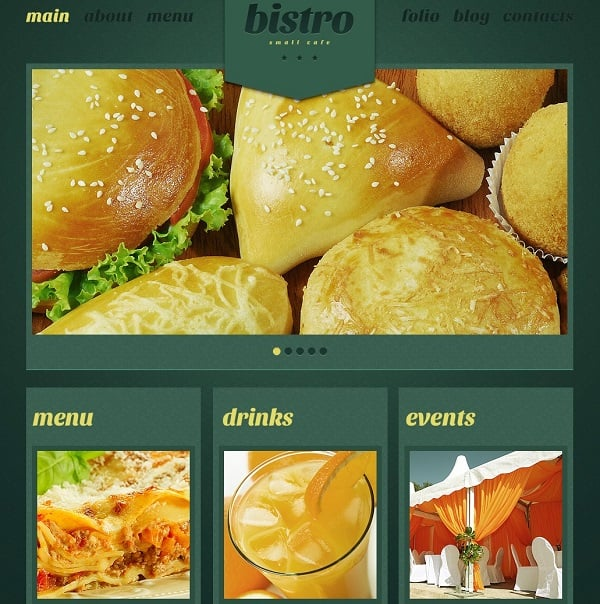 Cooking Website Template in Green