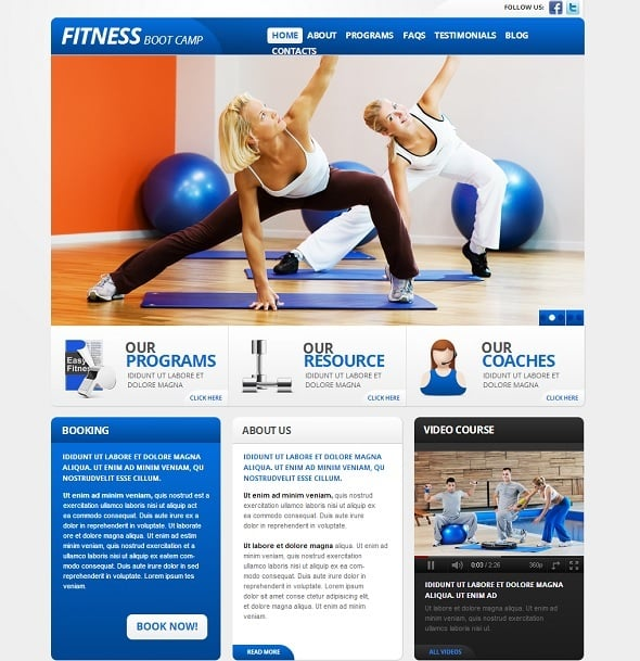 Fitness Web Template with Video