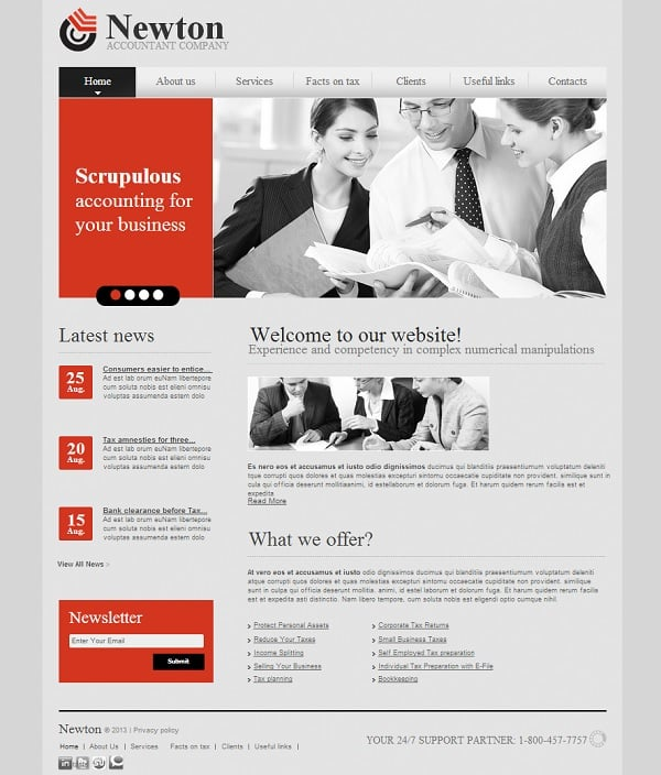 Grey-red website template for accounting agency