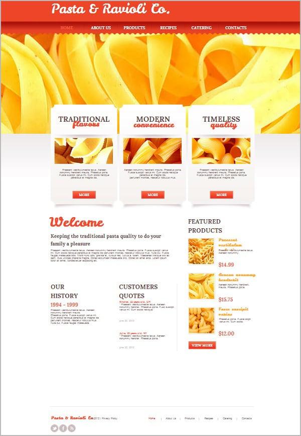 Pasta Store Website Template