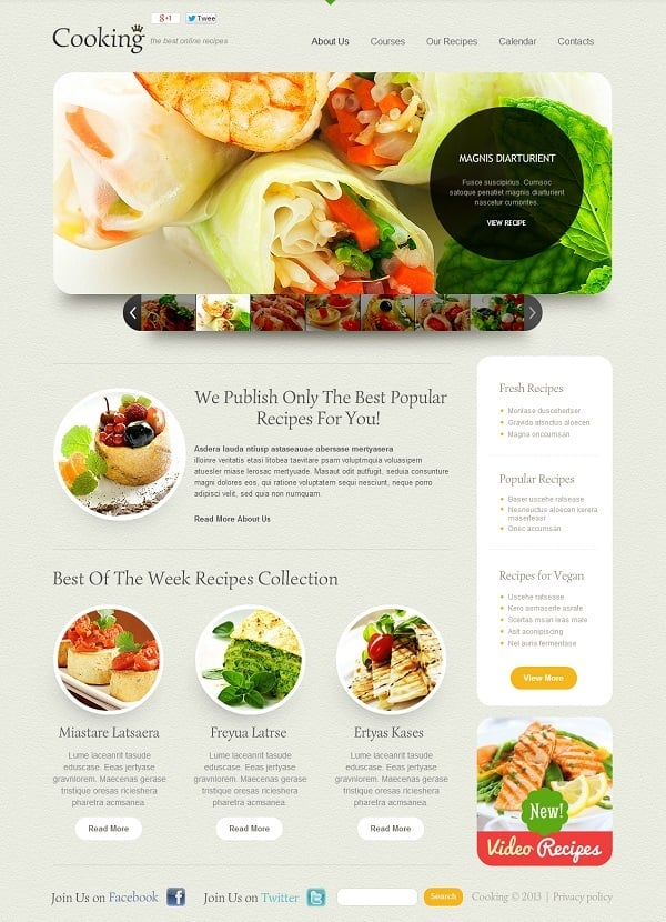 Recipes Collection Website Template