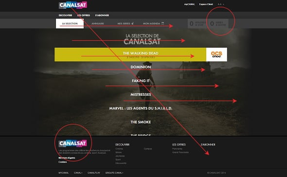 CanalSat Web Page Layout