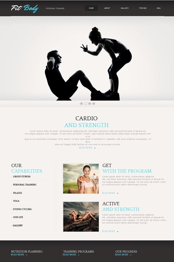 Create a Fitness Website - Monochrome  Web Template for Fitness Club
