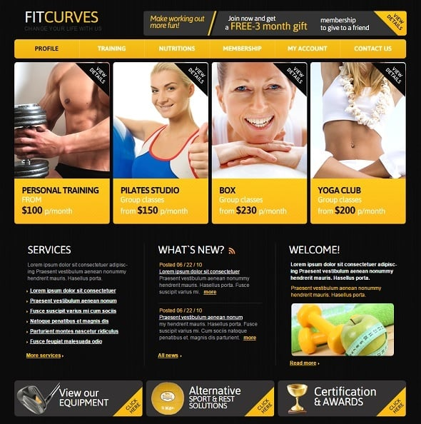 Create a Fitness Website - Fitness Club Template with Yellow Accents
