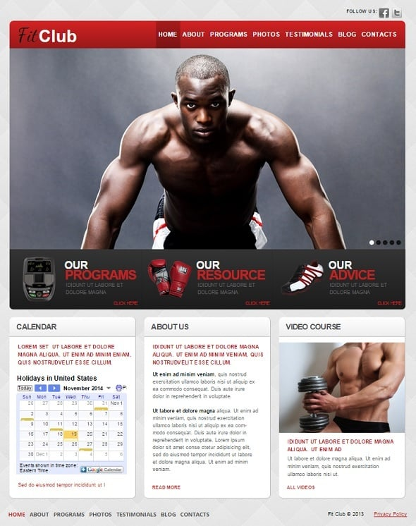 Create a Fitness website - Fitness Website Template with Calendar