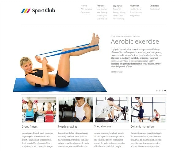 Create a Fitness Website - White  Web Template for Fitness Center