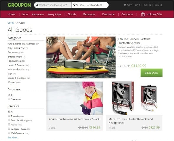 Groupon Website Navigation