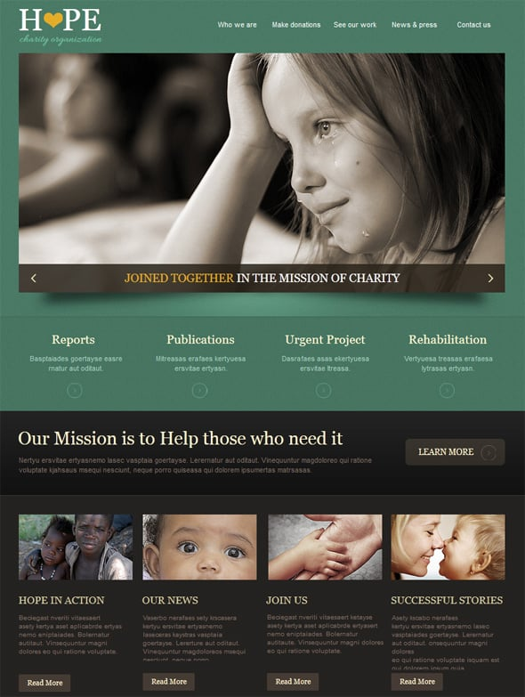 Charity Website Design with Green Accents