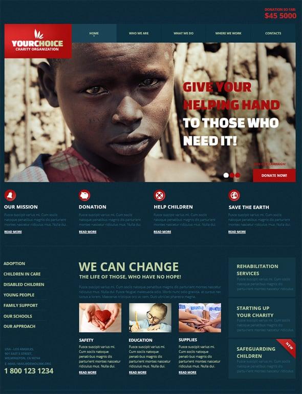 Charity Website Design in Blue