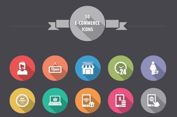 Freebie: 50 E-Commerce Icons in Flat and Long Tailed Shadow Style