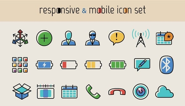 Responsive And Mobile Icon Set