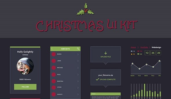 Free Christmas UI Kit from Designify.me