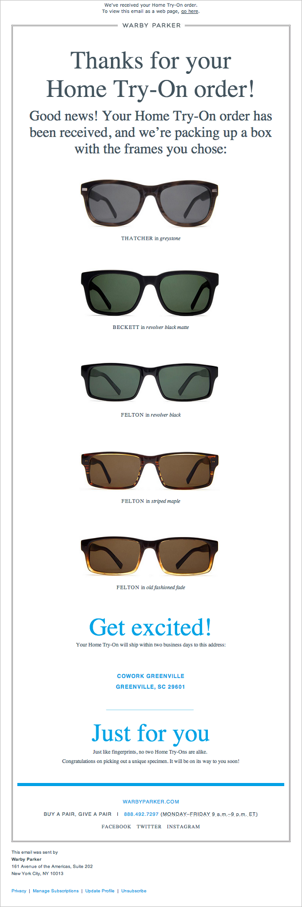 Warby Parker - Thanks for Your Order