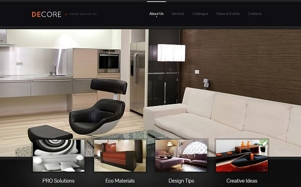 Dark-Colored Interior Design Website Template