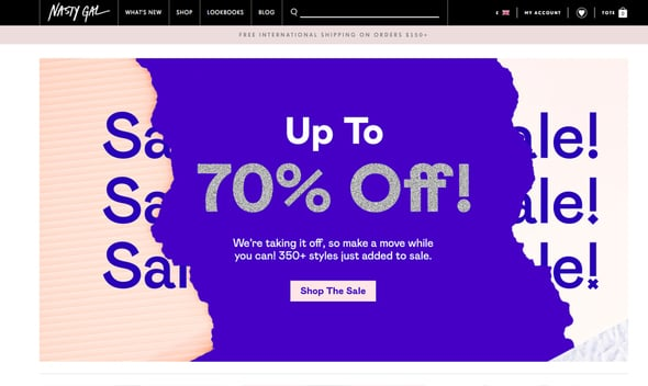 Boutique Website Design Nasty Gal