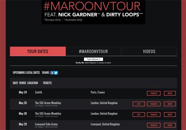 Maroon 5 Band Website Design