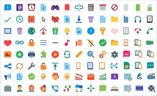 Best Web Design Articles April - Freebie: 300+ Free Flat Color Icons