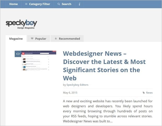 Best Web Design Blogs 2015 - speckyboy