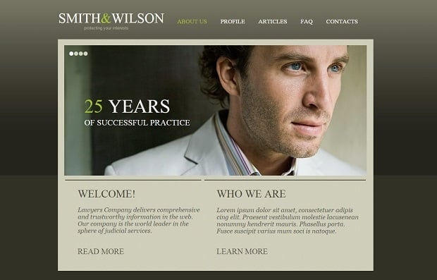 Legal Website Design - Web Template in Olive Green