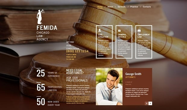 Legal Website Design - Law Firm Website Template with Scroll