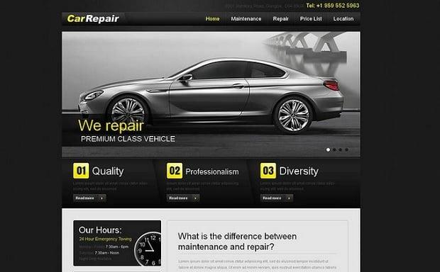 Car Repair Website Template - in black