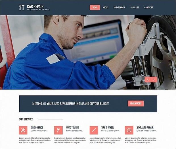 Car Repair Website Templates - blue-white palette