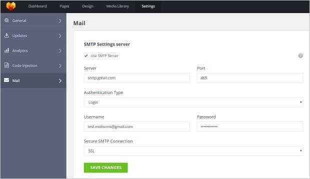 MotoCMS 3.0.6 Update - SMTP settings