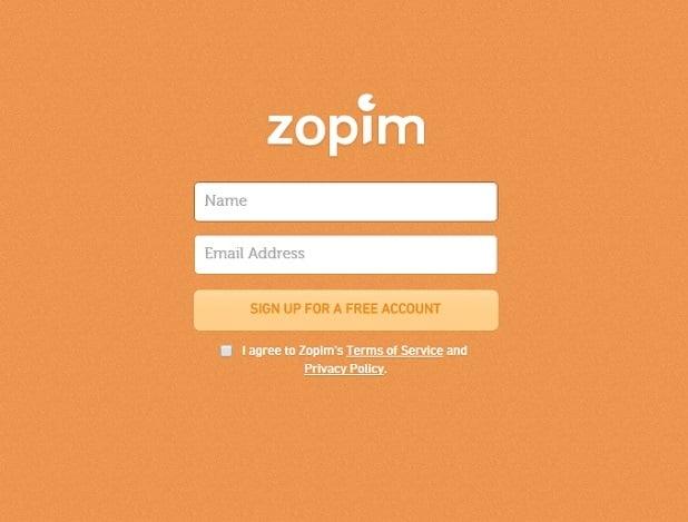 zopim - sign up