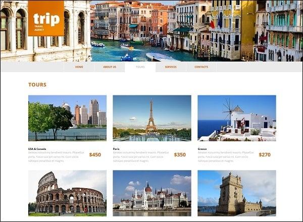 travel website templates - gallery