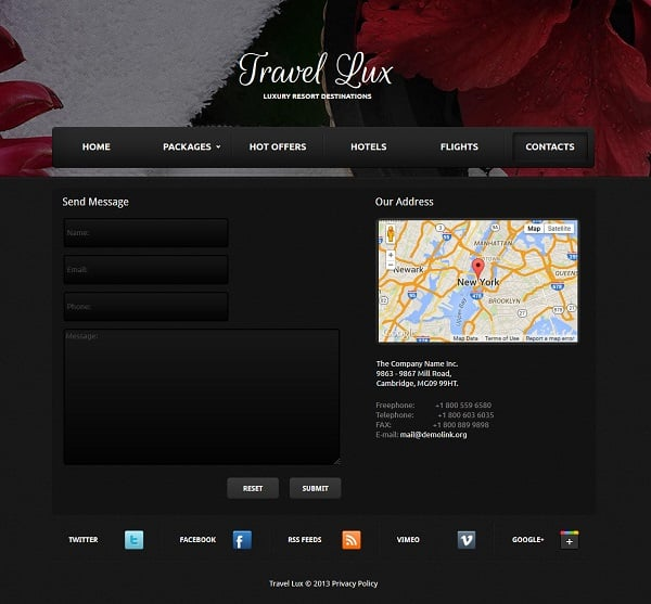 travel website templates - contacts