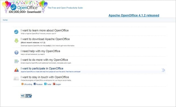 User interface design - openoffice