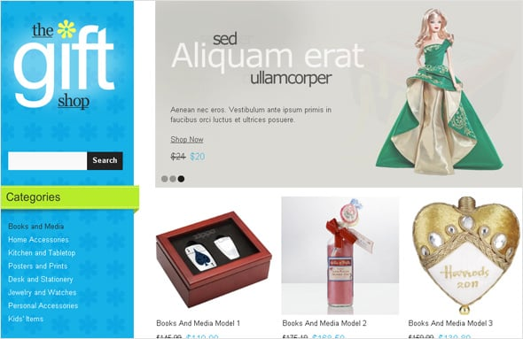 Flash E-commerce Design for Your Gift Shop