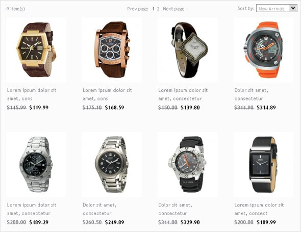 Flash CMS Design for Watches E-shop