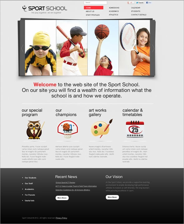 Sport School Flash Template