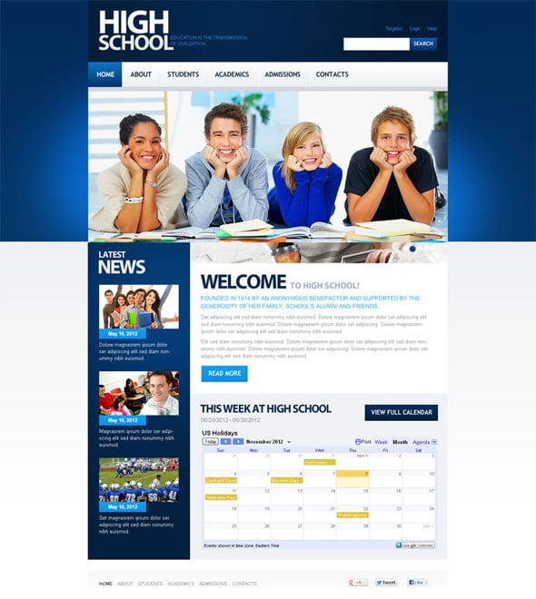 High School Flash CMS Template