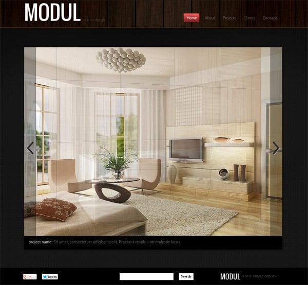 Сайт дизайнера интерьеров в темной цветовой гамме