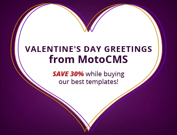 St. Valentine's Day promo - get website templates with a discount