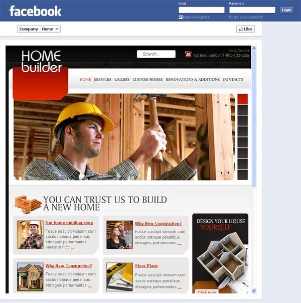 Шаблон строительной компании для Facebook